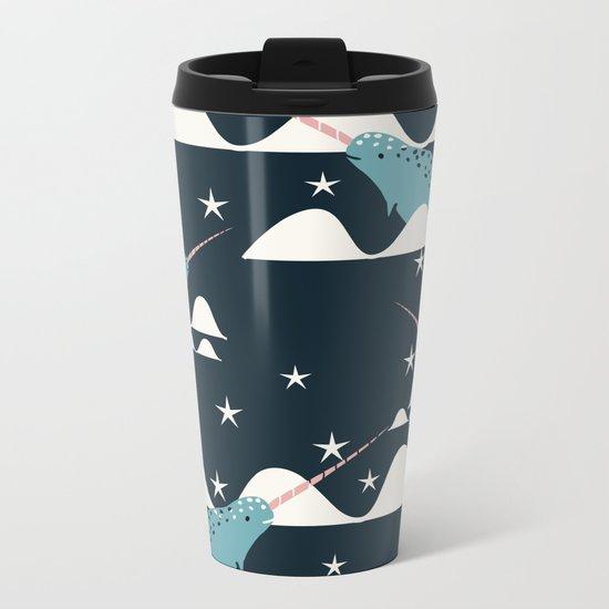 narwhal in ocean blue Metal Travel Mug
