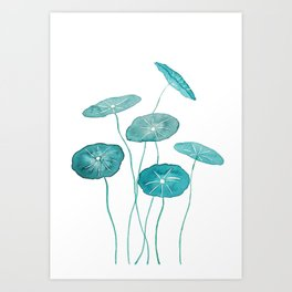 whorled umbrella plant leaf watercolor Art Print