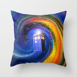 Tardis Doctor Who Fly into Time Vortex Throw Pillow