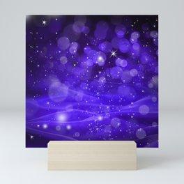 Whimsical Purple Glowing Christmas Sparkles Bokeh Festive Holiday Art Mini Art Print