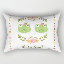 Let's frog! Funny lesbian frogs couple Rectangular Pillow