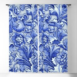 Blue and White Porcelain Blackout Curtain