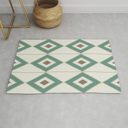 Mid Century Modern Geometric Diamonds and Stripes in Jade Green Beige Brown Rug