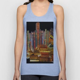 SHABBY CHIC ANTIQUE LIBRARY BOOKS, LEDGERS &  BOOKS Unisex Tank Top