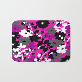 SUNFLOWER TOILE PINK BLACK GRAY WHITE PATTERN Bath Mat