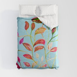 Red and Green Leaves on Light Blue Comforters