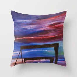 HARLAND AND WOLFF CRANES - Abstract Sky Oil Painting Throw Pillow