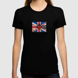 Old Vintage Acoustic Guitar with Union Jack British Flag T-shirt