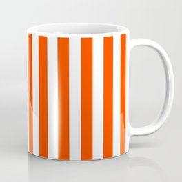 Orange Pop and White Vertical Cabana Tent Stripes Coffee Mug