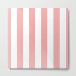 Large Blush Pink and White Beach Hut Stripes Metal Print