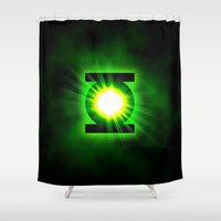smaug Shower Curtains featuring Green Lantern Power Of The Ring by neutrone