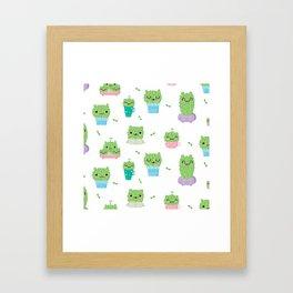 Cute CAT-TUS Pattern Framed Art Print
