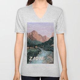 Zion National Park, Utah, USA Illustrated National Parks Unisex V-Neck