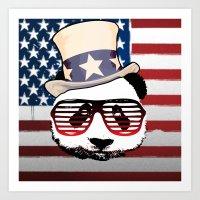 patriotic Art Prints featuring Patriotic Panda by crayzeestuff