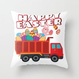 Easter Bunny Delivering Truck Easter Eggs For Boys Throw Pillow