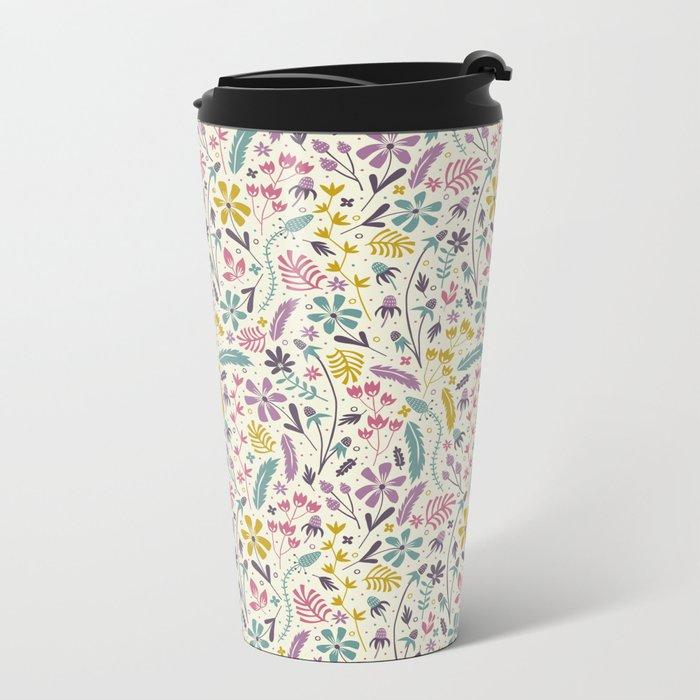 Retro Blooms (Candy) Metal Travel Mug