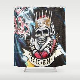 Las Vegas Skull Graffiti Shower Curtain