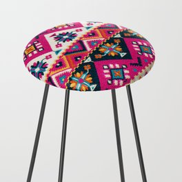 N59 - Anthropologie Oriental Traditional Pink Moroccan Style Artwork. Counter Stool