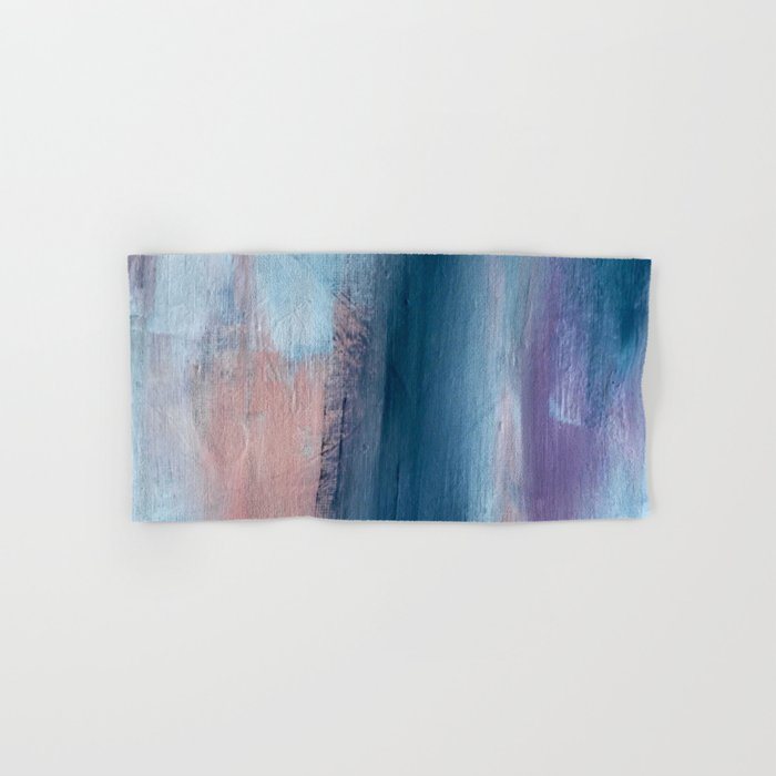 In a Blur: an abstract mixed media piece in pinks, blues, and purple Hand & Bath Towel