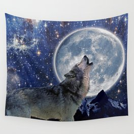 A One Wolf Moon Wall Tapestry