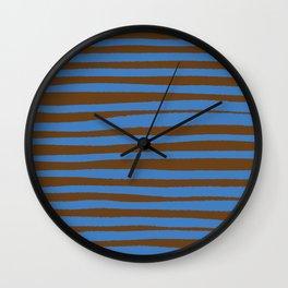 Brown & Blue Stripes  Wall Clock