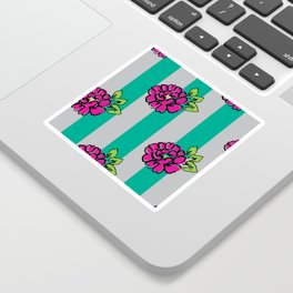 Pop Pink Flowers on Mint Stripe Pattern Sticker