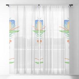Malia's Tropical Print Sheer Curtain