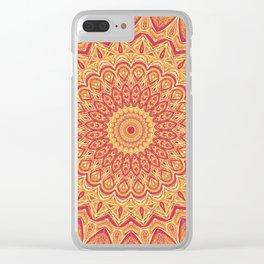 Tasty Tangerine Mandala Art Clear iPhone Case