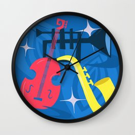 Jazz Composition With Bass, Saxophone And Trumpet Wall Clock
