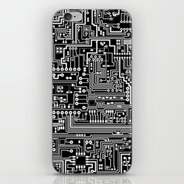 Circuit Board on Black iPhone Skin