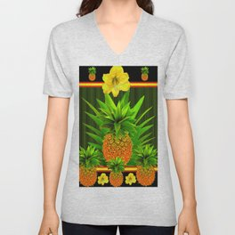 HAWAIIAN TROPICAL FLORAL-PINEAPPLES BLACK ART Unisex V-Neck