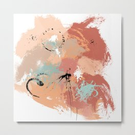 Unrestrained, Abstract Art Brushstrokes Metal Print