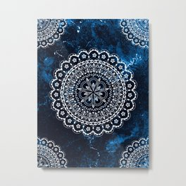 Moroccan Mandala on blue ink Metal Print