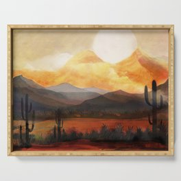 Desert in the Golden Sun Glow Serving Tray