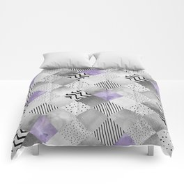 GRAPHIC PATTERN Sparkling Patchwork | purple&silver Comforters