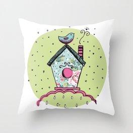 Bird's house Throw Pillow