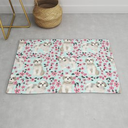 Shih Tzu dog breed florals pattern cherry blossom spring pet friendly gifts Rug