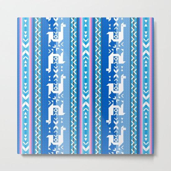 Llamas_Pink and BlueSky Metal Print