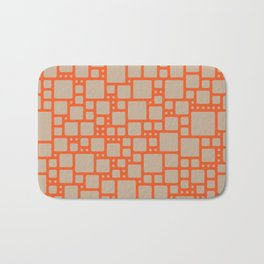 abstract cells pattern in orange and beige Bath Mat