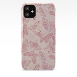 Butterfly Pattern soft pink pastel iPhone Case