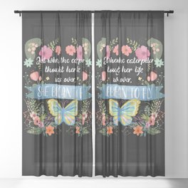 She Began To Fly Hand Lettered Floral Sign Sheer Curtain