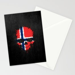 Flag of Norway on a Chaotic Splatter Skull Stationery Cards