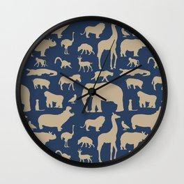 African Fauna // Khaki & Navy Wall Clock
