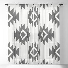 Third Eye Kilim in White and Black Sheer Curtain