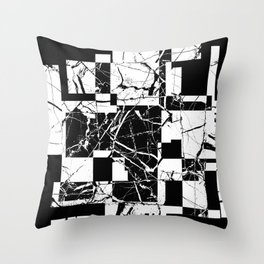 Manipulated Marble - Black and white, abstract, geometric, marble style art Throw Pillow