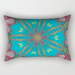 Fluid Nature - Abstract Kaleidoscope - Red and Turquoise Rectangular Pillow