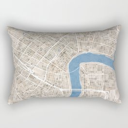 New Orleans Cobblestone Watercolor Map Rectangular Pillow