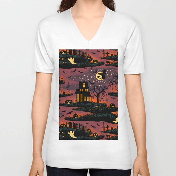 Halloween Night - Bonfire Glow Unisex V-Neck