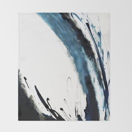 Reykjavik: a pretty and minimal mixed media piece in black, white, and blue Throw Blanket