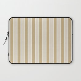 Large Vertical Christmas Burnished Matte Gold and White Bed Stripes Laptop Sleeve